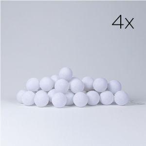 4 x LYSKÆDE MED BOMULDSKUGLER | WHITE