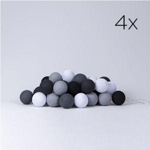 4 x LYSKÆDE MED BOMULDSKUGLER | GREY COLOURS